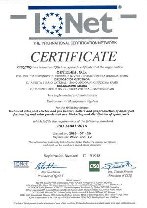 certificado iso 14001-2015